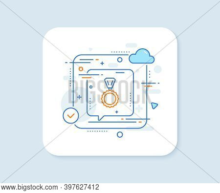 Award Medal Line Icon. Abstract Vector Button. Winner Achievement Symbol. Glory Or Honor Sign. Medal