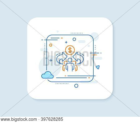 Sharing Economy Line Icon. Abstract Square Vector Button. Business Group Sign. Share Symbol. Sharing