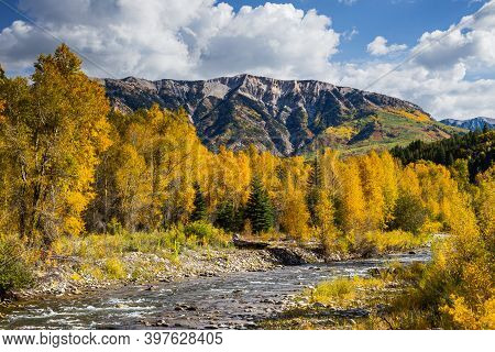 Autumn Color On The North Fork Of The Gunnison River. Colorado In Autumn.