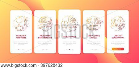 Healthy Breastfeeding Diet Onboarding Mobile App Page Screen With Concepts. Limit Caffeine Intake Wa