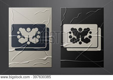White Rorschach Test Icon Isolated On Crumpled Paper Background. Psycho Diagnostic Inkblot Test Rors