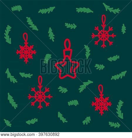 Collection Of Christmas Decorations. Beautiful Vector Christmas Toys And Snowflakes In A Circle Of C