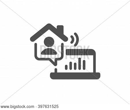 Work At Home Icon. Freelance Job Sign. Remote Office Employee Symbol. Quality Design Element. Flat S