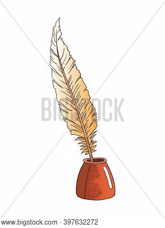 Antique Quill Pen Isolated Vector Icon For Education And Literature Themes Design, Symbols Of Retro