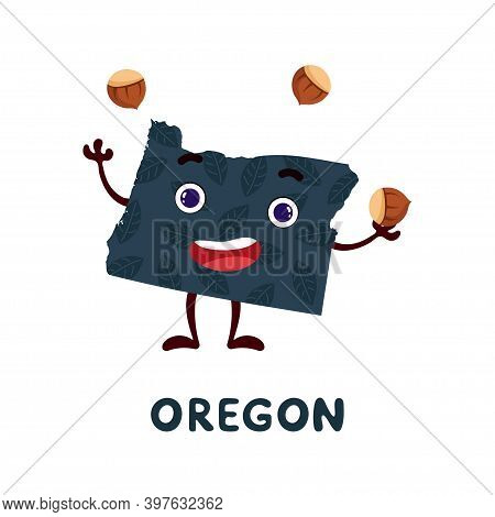 Cute Cartoon Oregon State Character Clipart. Illustrated Map Of State Of Oregon Of Usa With State Na