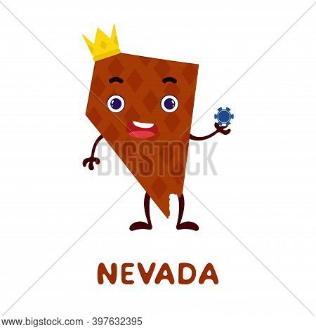 Cute Cartoon Nevada State Character Clipart. Illustrated Map Of State Of Nevada Of Usa With State Na