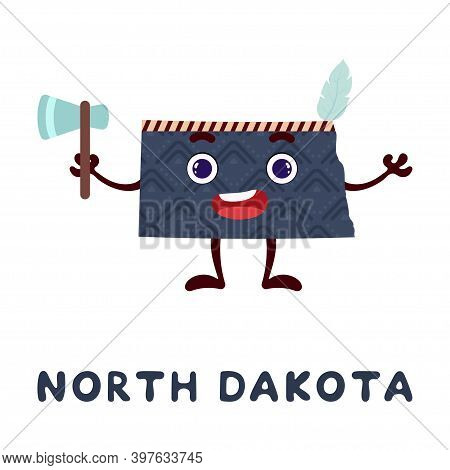Cute Cartoon North Dakota State Character Clipart. Illustrated Map Of State Of North Dakota Of Usa W