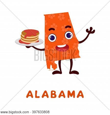 Cute Cartoon Alabama State Character Clipart. Illustrated Map Of State Of Alabama Of Usa With State