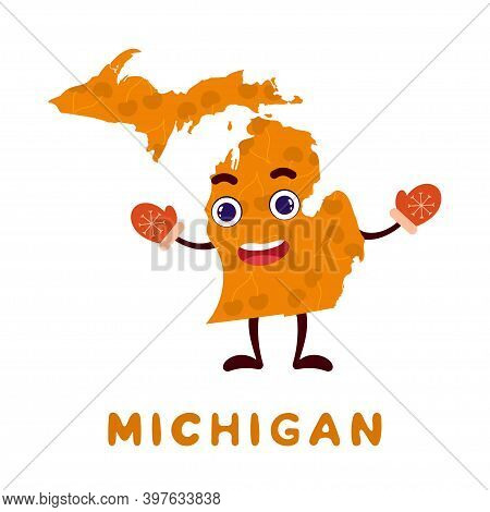 Cute Cartoon Michigan State Character Clipart. Illustrated Map Of State Of Michigan Of Usa With Stat