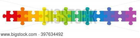 Puzzle Pieces, Rainbow Gradient Colored Jigsaw Puzzle Pieces, Twelve Different Colors In A Row. Isol