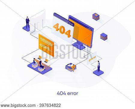 404 Error Isometric Web Banner. System Updates, Internet Disconnect Isometry Concept. Web Page Not F
