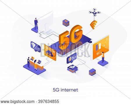 5g Internet Isometric Web Banner. Mobile Telecommunication System Isometry Concept. 5g Generation St