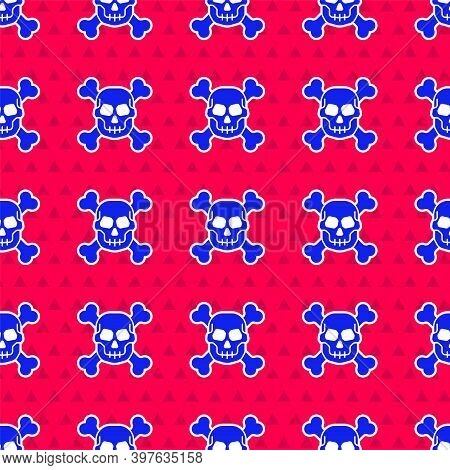 Blue Skull On Crossbones Icon Isolated Seamless Pattern On Red Background. Happy Halloween Party. Ve