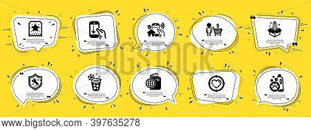 Business Icons Set. Speech Bubble Offer Banners. Yellow Coupon Badge. Included Icon As Travel Passpo