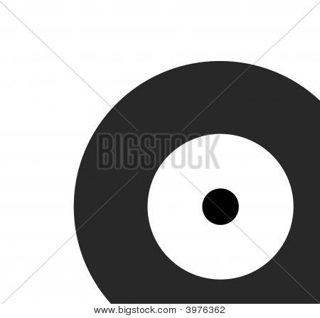 black recored disk in white back ground poster