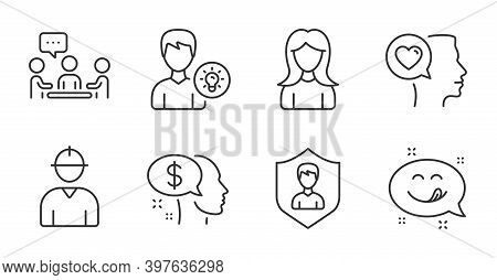 Woman, People Chatting And Security Agency Line Icons Set. Pay, Person Idea And Engineer Signs. Roma