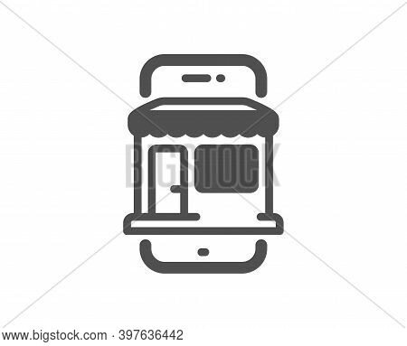 Marketplace App Icon. Online Store Sign. Retail Phone Application Symbol. Quality Design Element. Fl