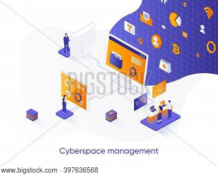 Cyberspace Management Isometric Web Banner. Network Management Software Solution Isometry Concept. O