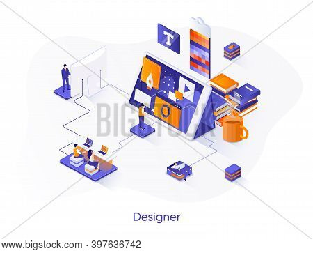 Designer Isometric Web Banner. Website Development, Ui Ux Design Isometry Concept. Product Branding