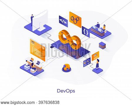 Devops Isometric Web Banner. Development Operations Isometry Concept. Programming And Engineering Se