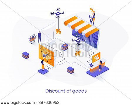 Discount Of Goods Isometric Web Banner. Seasonal Discounting And Online Shopping Isometry Concept. R