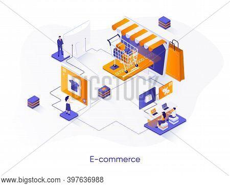 E-commerce Isometric Web Banner. Online Shopping Platform Isometry Concept. Customer Support 3d Scen