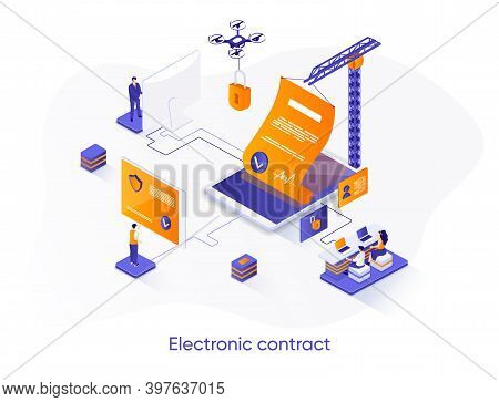 Electronic Contract Isometric Web Banner. Online Sign Contract Or Documents Technology Isometry Conc