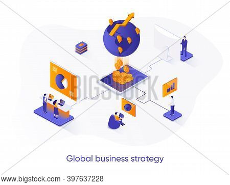 Global Business Strategy Isometric Web Banner. International Corporation Management Isometry Concept
