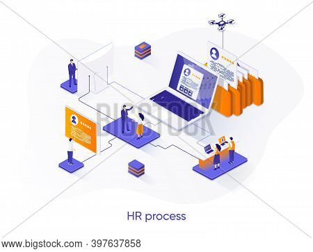 Hr Process Isometric Web Banner. Human Resource Management Isometry Concept. Staff Headhunting 3d Sc