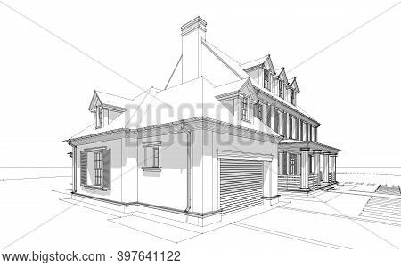 3D Rendering Of Modern Classic House In Colonial Style Black Line On White Background