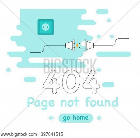 404 Error Page Not Found. Banner Or Web Template With System Error. Disconnected Wires From The Outl