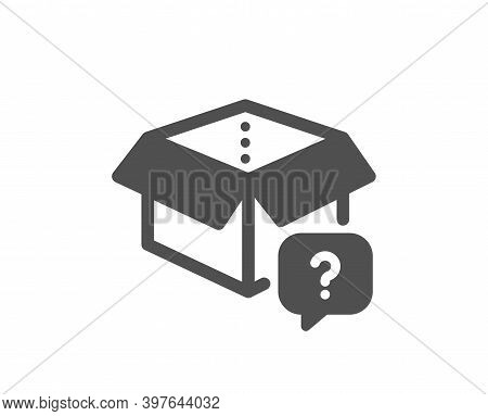 Secret Package Icon. Unknown Delivery Box Sign. Question Mark Symbol. Quality Design Element. Flat S