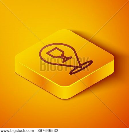 Isometric Line Alcohol Or Beer Bar Location Icon Isolated On Orange Background. Symbol Of Drinking,