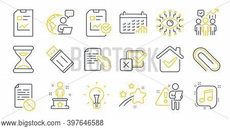 Set Of Education Icons, Such As Paper Clip, Artificial Intelligence, Musical Note Symbols. Checkbox,