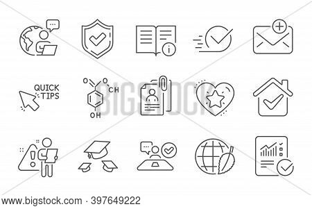 Technical Info, Job Interview And Chemical Formula Line Icons Set. Checkbox, Checked Calculation And