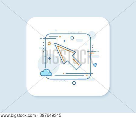 Mouse Cursor Line Icon. Abstract Square Vector Button. Pointer Sign. Click Arrow Symbol. Mouse Curso