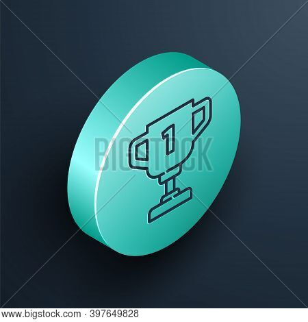 Isometric Line Award Cup Icon Isolated On Black Background. Winner Trophy Symbol. Championship Or Co