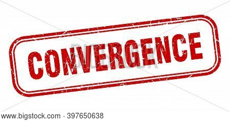 Convergence Stamp. Convergence Square Grunge Red Sign
