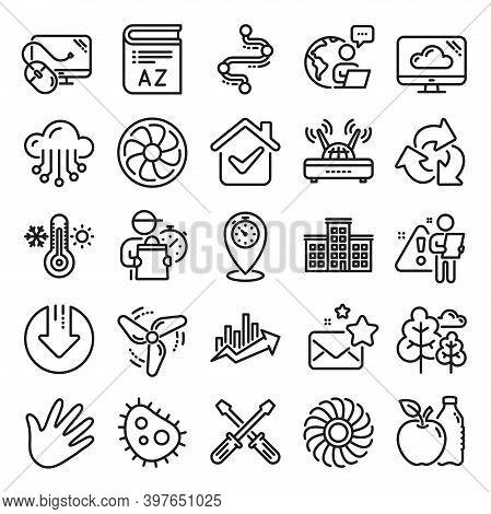 Company Building, Vocabulary, Profits Timeline Line Icons. Turbine, Wind, Thermostat Icons. Tree, Ba