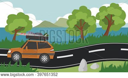 Family Cars Orange Color With Lots Of Luggage On The Roof Rack. On An Asphalt Road With Low Hills An
