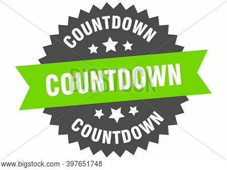 Countdown Round Isolated Ribbon Label. Countdown Sign