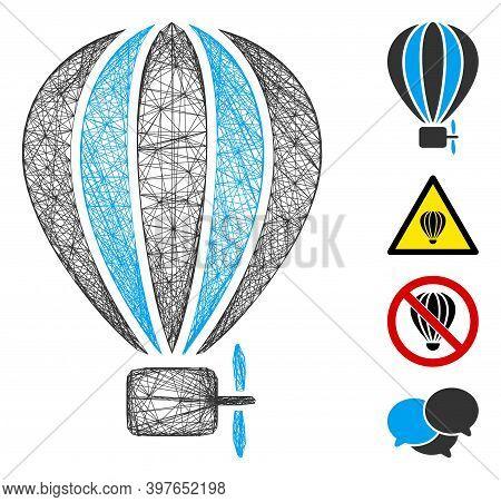 Vector Net Aerostat Balloon. Geometric Linear Carcass Flat Net Generated With Aerostat Balloon Icon,