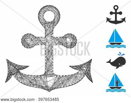 Vector Wire Frame Anchor. Geometric Wire Frame 2d Network Generated With Anchor Icon, Designed With