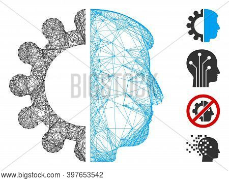 Vector Wire Frame Android Head. Geometric Wire Carcass Flat Net Made From Android Head Icon, Designe
