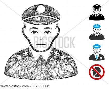 Vector Net Army General. Geometric Wire Carcass Flat Net Generated With Army General Icon, Designed