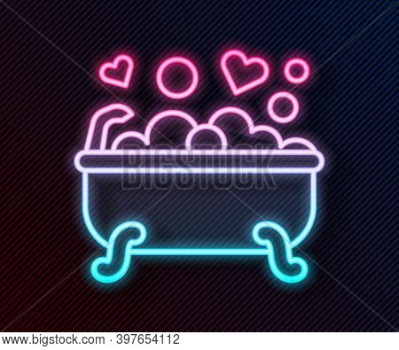 Glowing Neon Line Romantic In Bathroom Icon Isolated On Black Background. Concept Romantic Date. Rom