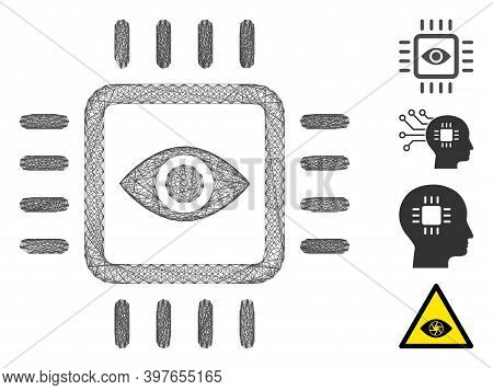 Vector Wire Frame Bionic Vision Chip. Geometric Wire Frame 2d Network Based On Bionic Vision Chip Ic