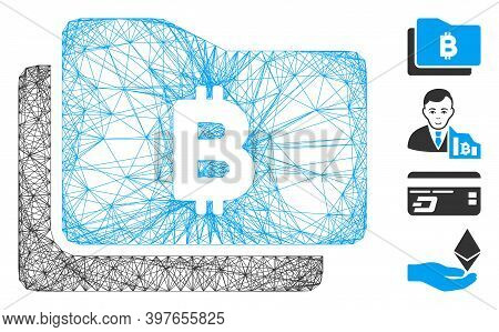 Vector Wire Frame Bitcoin Purse. Geometric Linear Frame 2d Net Generated With Bitcoin Purse Icon, De