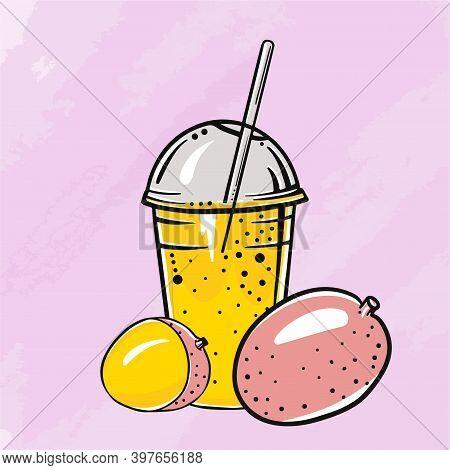 Orange Fresh Fruit Mango Juice In A Plastic Glass For Juice, Juice Diet, Healthy Eating, Healthy Lif