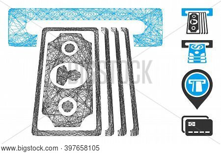 Vector Wire Frame Cashpoint Terminal. Geometric Wire Frame Flat Net Based On Cashpoint Terminal Icon